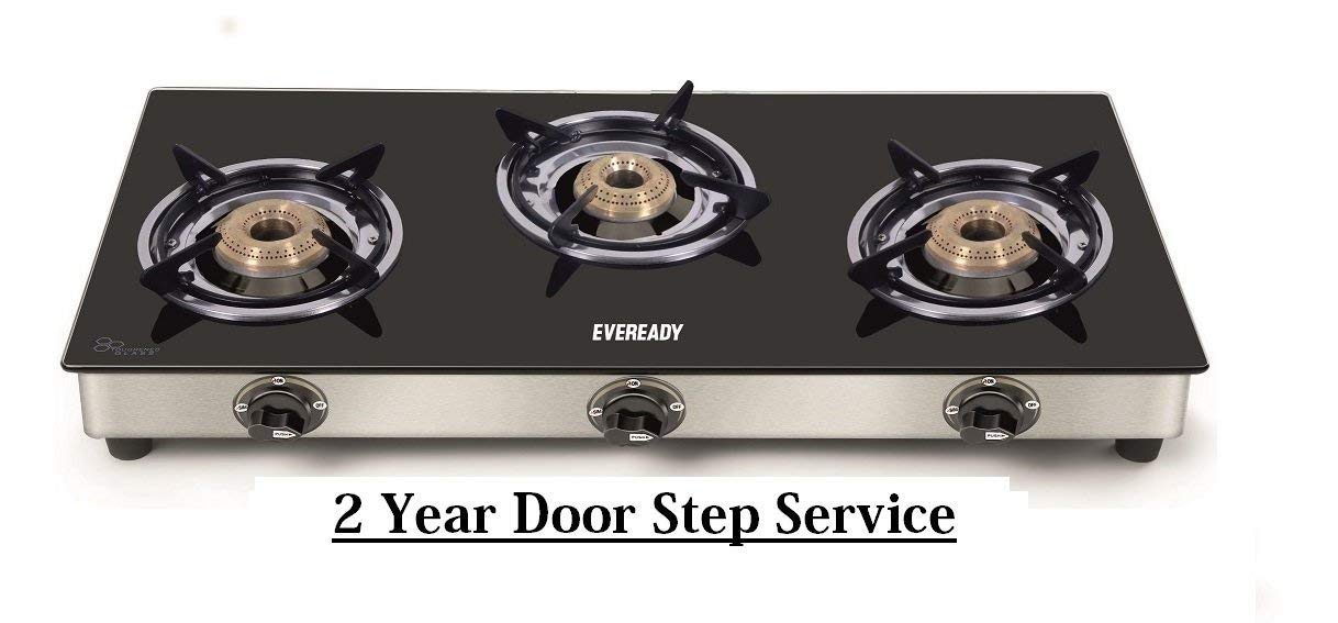 eveready glass stainless steel manual gas stove 2 burners
